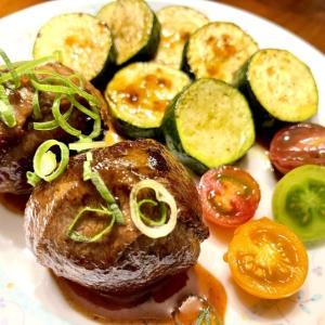 半熟卵の肉巻き & P肉 で夕ごはん。