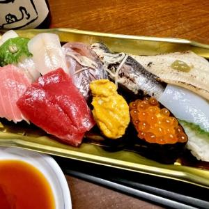 スーパーのお寿司 & 八海山(禁断の21時の炭水化物…)