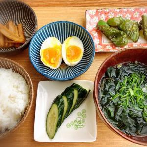 ピーマンの麺つゆ煮、半熟卵、ぬか漬け ランチ。
