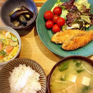 意外と合う♪  ナスのニンニク麺つゆ炒め、鮭フライ 定食。