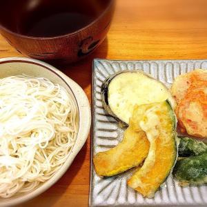夏野菜の天ぷら、かぼす果汁でサッパリお素麺 ランチ。