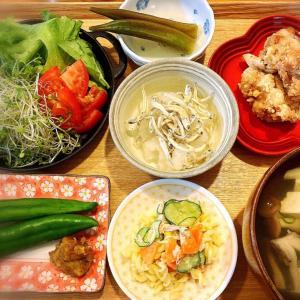 塩とニンニクが効いたカリカリ竜田揚げ 定食。