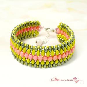 エスニック風ブレスレット*Pink&Green