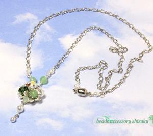 フラワープチネックレス*緑