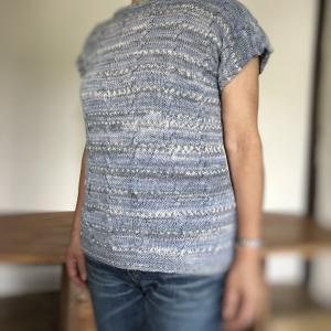 【生徒さん作品】毛糸だま2020春号よりナイフメーラのケーブル編みプルオーバー