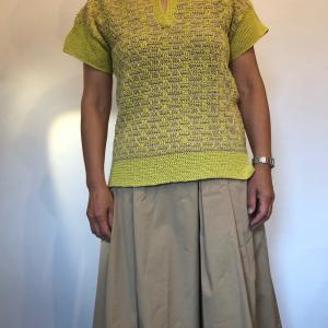 【生徒さん作品】「毛糸だま2019春号」よりワンダークロッシェ引き上げ編みのプルオーバー