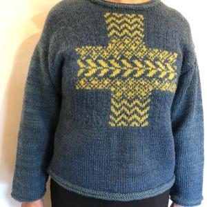 【生徒さん作品】「日々のあみもの」より繕いサンプラーのセーター