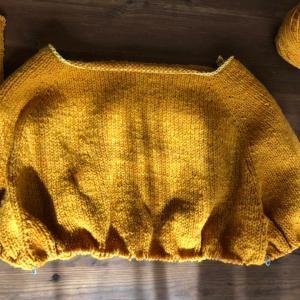 働くセーターを編み始めました