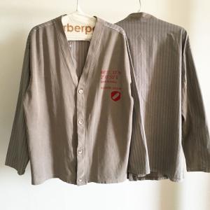 異素材ミックスのシャツカーデ