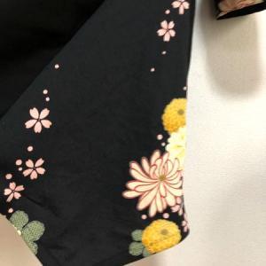 黒シック着物襟和柄アシンメトリーワンピース