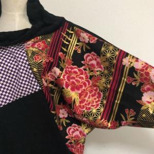 ハンドメイド 和柄ドルマンチュニック 黒紫赤 お琴衣装