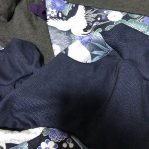兄弟おそろい和柄服 長袖Tシャツ&サルエルパンツ 藍鶴紫