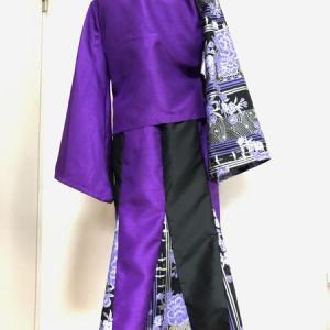 和装セットアップスーツ 黒紫和柄羽織り&マーメイドスカート