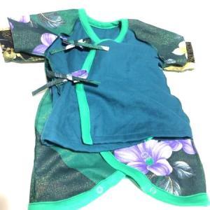 出産祝いに男の子ベビー服 グリーンにパープル花コンビ肌着&短肌着セット
