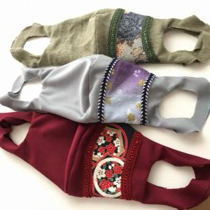 手作り和柄一体型布マスク メンズ3点 カーキ、グレー、エンジ