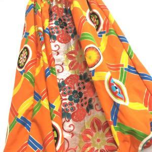 乾坤式二次会衣装 和柄橙×ゴールド鮮やか
