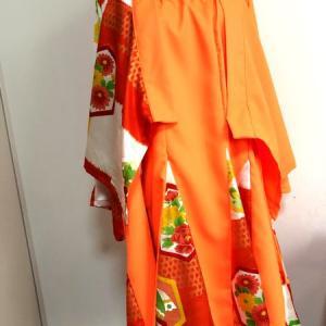 レディース和装スーツセットアップ 橙×和柄華やか