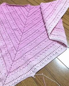 ユザワヤのフラワーロールdeトライアングルストール(三角ショール)を編む〜その9