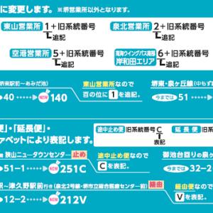 【南海バス】バス系統番号を変更(2020.3.1~)国交省ガイドラインに基づき、系統番号の3桁化等を実施