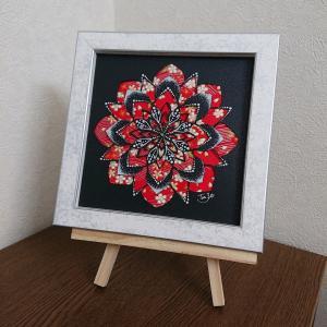 和紙を使った真っ赤な曼荼羅アート完成♪