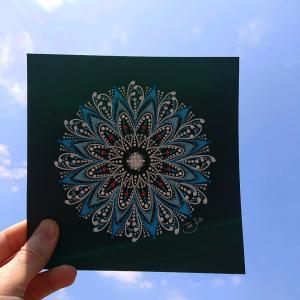 『ブルーインパルス』をイメージして描いた曼荼羅アート♪