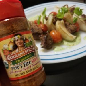 Pele's fire で牛肉とグレープトマトのKebab & パクチーソース