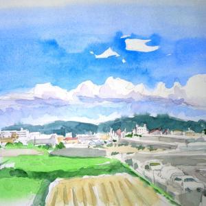 水彩画スケッチ雲と空