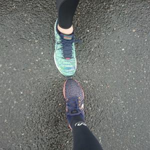 雨の30km走と。