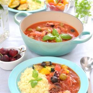 レシピあり!たこと夏野菜のトマト煮込み、パスタソースにも!