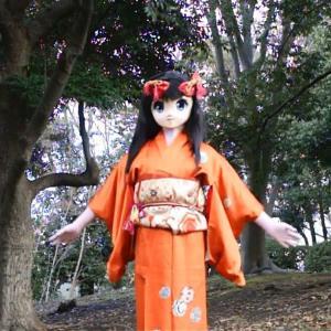 冬の着ぐるみロケの一枚/Kigurumi kimono girl.