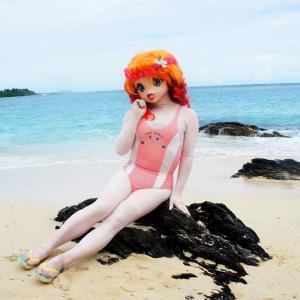 岩場の水着撮影gif動画[着ぐるみ]希望ヶ丘ビーチ/A swimsuit kigurumi at Kibougaoka beach.(gif animation)