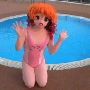 一緒に遊びたかったよ~(着ぐるみで展望プール、動画3)/Kigurumi swam in the observation pool act.5.