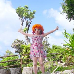 沖縄の青い空と木々その2[着ぐるみgif動画]/Okinawa's blue sky and trees. act.2