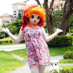 ブセナ岬の三角屋根、着ぐるみ動画編/Kigurumi-Riko shot in front of the orange roof.(gif animation)