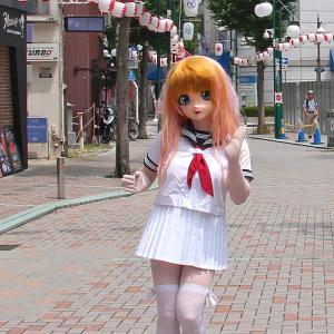 [着ぐるみでお祭り]提灯と白い衣装、川崎東田商店街その7/[Festival at kawasaki]kigurumi doll participated.act 7