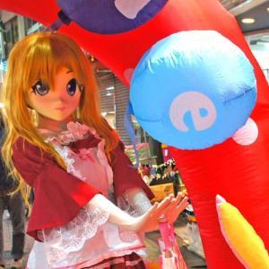 [着ぐるみでお祭り] 江古田ナイトバザールでも子供達に…/kigurumi doll with kids at Egota night bazaar