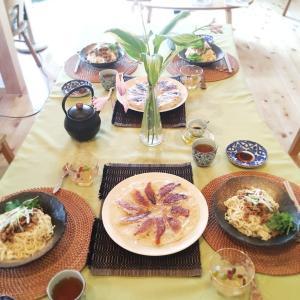 パスタマシーンで麺づくり♬出来たて麺イイね〜。