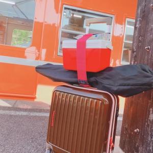 スーツケースでデイキャンプから帰宅途中です