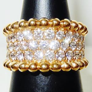 ★★ イエロー ゴールド の 粒金細工 が 美しい 幅広 ダイヤ リング ♪♪ ★★
