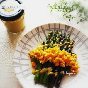 アスパラのグリル&ZENBペースト「コーン」と卵のソース