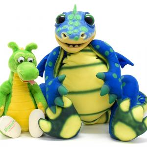 Axtell/アクステル社製の恐竜のパペットと、ダドリー・ザ・ドラゴンのぬいぐるみ:)