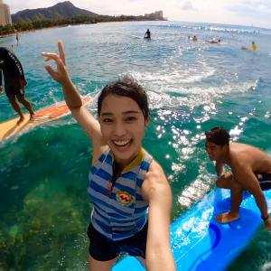 友吾プロが女子高生モデルの妹と一緒に〜タンデム2人乗りサーフィンをGoProで自撮りする動画〜♪