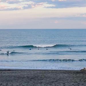 千葉の海でも良い波でサーフィンできて〜波乗り仲間たちとセッション後はBBQから鍋パーティーを〜♪