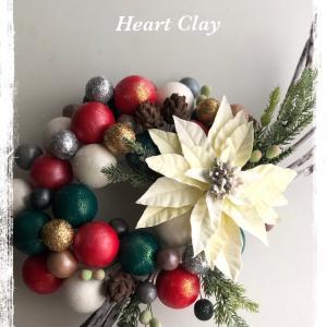 ハートクレイ教室一番人気のクレイクリスマスリース♡生徒さん作品♪