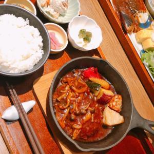 【食】竹芝アトレTSUMUGI絶品味噌風味ハンバーグ