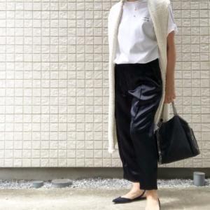 My コーデ♬ rogoTシャツ×お気に入りサテンパンツでホワイトネイビーコーデ♪