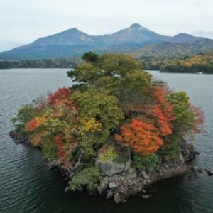 桧原湖「桜島」の紅葉