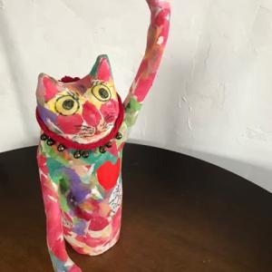カラフル招き猫さん・張り子絵手紙