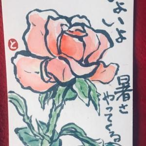 薔薇・絵手紙