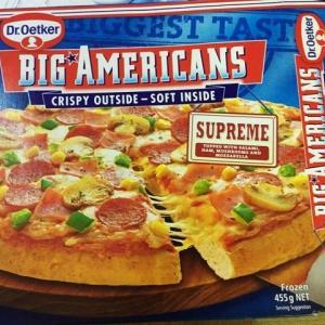 アメリカンピザだけど、米国産ではない?!~冷凍ピザ、韓国の薄いのより格段にいい!!!意外といける…で、その原産国は?